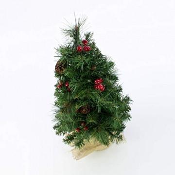 artplants.de Künstlicher Mini Weihnachtsbaum BUKAREST, LED's, geschmückt, 75 Zweige, 45cm, Ø 25cm - Kunst Tannenbaum - Deko Christbaum - 2