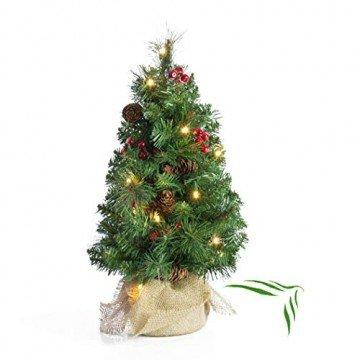 artplants.de Künstlicher Mini Weihnachtsbaum BUKAREST, LED's, geschmückt, 75 Zweige, 45cm, Ø 25cm - Kunst Tannenbaum - Deko Christbaum - 1