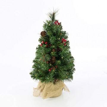 artplants.de Künstlicher Mini Weihnachtsbaum BUKAREST, LED's, geschmückt, 75 Zweige, 45cm, Ø 25cm - Kunst Tannenbaum - Deko Christbaum - 6