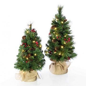 artplants.de Künstlicher Mini Weihnachtsbaum BUKAREST, LED's, geschmückt, 75 Zweige, 45cm, Ø 25cm - Kunst Tannenbaum - Deko Christbaum - 8