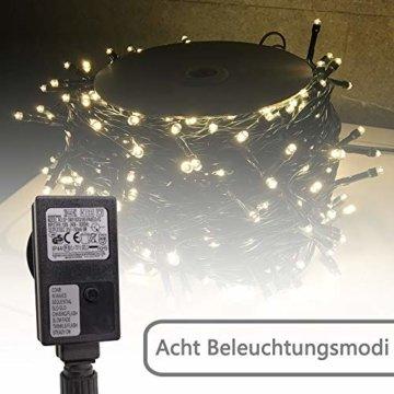 AUFUN LED Lichterkette Außen Außenlichterkette Weihnachtsbeleuchtung Wasserdicht IP44 mit 8 Leuchtmodi für Hochzeit, Party, Garten, Ostern (100m,1000LEDs,WarmWeiß) - 3