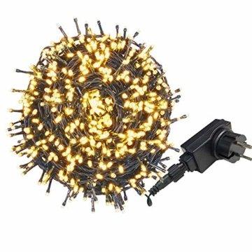 AUFUN LED Lichterkette Außen Außenlichterkette Weihnachtsbeleuchtung Wasserdicht IP44 mit 8 Leuchtmodi für Hochzeit, Party, Garten, Ostern (100m,1000LEDs,WarmWeiß) - 1
