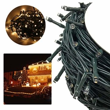 AUFUN LED Lichterkette Außen Außenlichterkette Weihnachtsbeleuchtung Wasserdicht IP44 mit 8 Leuchtmodi für Hochzeit, Party, Garten, Ostern (100m,1000LEDs,WarmWeiß) - 6
