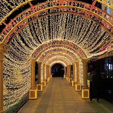 AUFUN LED Lichterkette Außen Außenlichterkette Weihnachtsbeleuchtung Wasserdicht IP44 mit 8 Leuchtmodi für Hochzeit, Party, Garten, Ostern (100m,1000LEDs,WarmWeiß) - 7