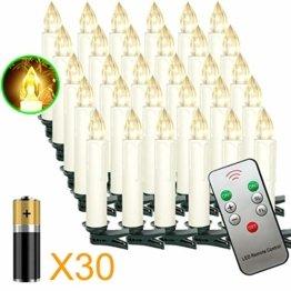 Aufun LED Weihnachtskerzen 30 Stück LED Kerzen Weihnachtskerzen mit Fernbedienung Warmweiß LED Kerzen Outdoor Weinachten LED für Weihnachtsbaum, Weihnachtsdeko, Hochzeitsdeko, Party, Feiertag - 1