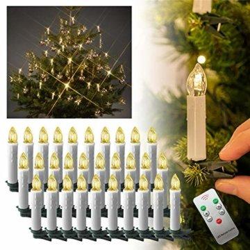 Aufun LED Weihnachtskerzen 30 Stück LED Kerzen Weihnachtskerzen mit Fernbedienung Warmweiß LED Kerzen Outdoor Weinachten LED für Weihnachtsbaum, Weihnachtsdeko, Hochzeitsdeko, Party, Feiertag - 7