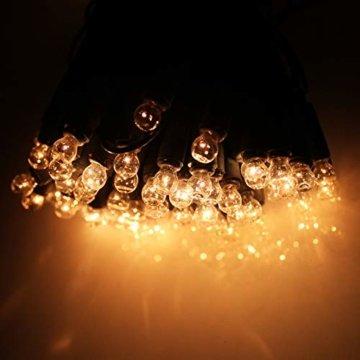 Außenlichterkette mit 120 Lämpchen mit Farbwahl Lichterkette Outdoor Lichterketten Außen Weihnachtsbeleuchtung (Kabel grün, Lampen klar) - 2