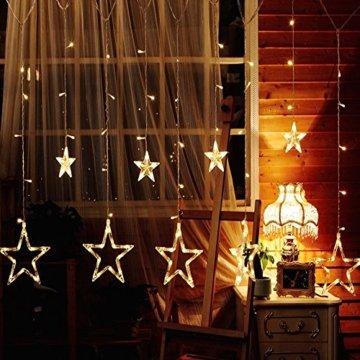 Avoalre Lichtervorhang 12 Sterne 2M Lichterkette 138LEDs Lichter Ketten (max. 13 Sätze) Erweiterbar mit 8 Modi Weihnachtsbeleuchtung im Innen/Außen - 2