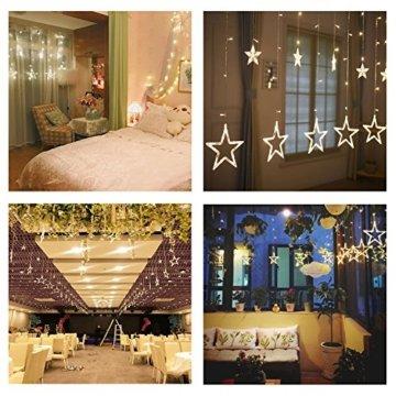 Avoalre Lichtervorhang 12 Sterne 2M Lichterkette 138LEDs Lichter Ketten (max. 13 Sätze) Erweiterbar mit 8 Modi Weihnachtsbeleuchtung im Innen/Außen - 3