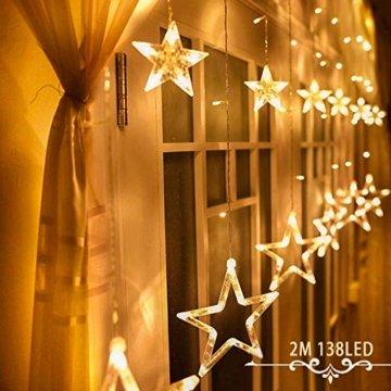 Avoalre Lichtervorhang 12 Sterne 2M Lichterkette 138LEDs Lichter Ketten (max. 13 Sätze) Erweiterbar mit 8 Modi Weihnachtsbeleuchtung im Innen/Außen - 1