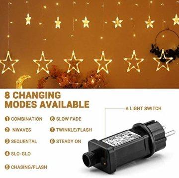 Avoalre Lichtervorhang 12 Sterne 2M Lichterkette 138LEDs Lichter Ketten (max. 13 Sätze) Erweiterbar mit 8 Modi Weihnachtsbeleuchtung im Innen/Außen - 5