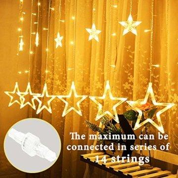 Avoalre Lichtervorhang 12 Sterne 2M Lichterkette 138LEDs Lichter Ketten (max. 13 Sätze) Erweiterbar mit 8 Modi Weihnachtsbeleuchtung im Innen/Außen - 6