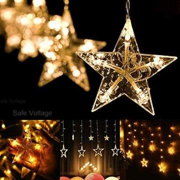Avoalre Lichtervorhang 12 Sterne 2M Lichterkette 138LEDs Lichter Ketten (max. 13 Sätze) Erweiterbar mit 8 Modi Weihnachtsbeleuchtung im Innen/Außen - 8