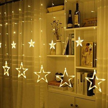 Avoalre Lichtervorhang 12 Sterne 2M Lichterkette 138LEDs Lichter Ketten (max. 13 Sätze) Erweiterbar mit 8 Modi Weihnachtsbeleuchtung im Innen/Außen - 9