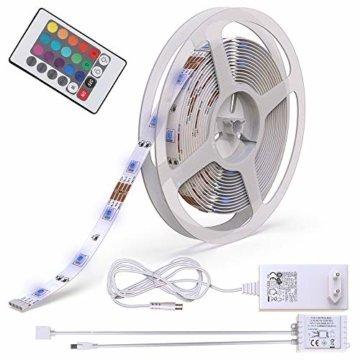 B.K.Licht LED Stripes, 5m Stripe, Lichterkette, Band, Streifen, LED Leiste, LED Lichtleiste, LED Bänder, Lichterkette LED, weiß, bunt, inkl. Fernbedienung, inkl. Farbwechsel, selbstklebend - 1