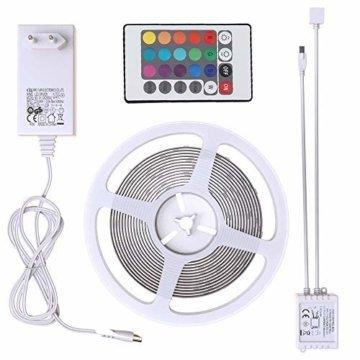 B.K.Licht LED Stripes, 5m Stripe, Lichterkette, Band, Streifen, LED Leiste, LED Lichtleiste, LED Bänder, Lichterkette LED, weiß, bunt, inkl. Fernbedienung, inkl. Farbwechsel, selbstklebend - 5