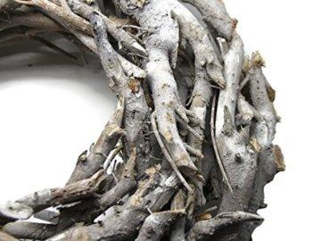 Bada Bing XL Weidenkranz Holz Kranz Geäst Aus Zweigen Ø Ca. 50 cm Weiss Grau Landhaus Stil Deko Tischdeko Wanddeko Adventskranz Advent Türkranz Weihnachten Deko 31 - 2