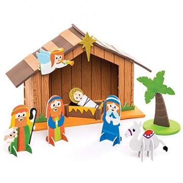 Baker Ross Weihnachtskrippe aus Moosgummi Kit - Kreative Weihnachtskunst und Bastelbedarf für Kinder zum Basteln und Dekorieren (2er-Pack) - 3