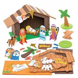 Baker Ross Weihnachtskrippe aus Moosgummi Kit - Kreative Weihnachtskunst und Bastelbedarf für Kinder zum Basteln und Dekorieren (2er-Pack) - 1