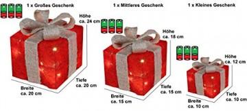 Bambelaa! 3er Led Deko Geschenke Leucht Boxen Timer Weihnachts Dekoration Weihnachtsdeko Beleuchtet Deko Weihnachten (Rot) - 2