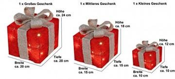 Bambelaa! 3er Led Deko Geschenke Leucht Boxen Timer Weihnachts Dekoration Weihnachtsdeko Beleuchtet Deko Weihnachten (Rot) - 3
