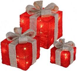 Bambelaa! 3er Led Deko Geschenke Leucht Boxen Timer Weihnachts Dekoration Weihnachtsdeko Beleuchtet Deko Weihnachten (Rot) - 1