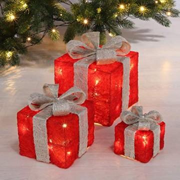 Bambelaa! 3er Led Deko Geschenke Leucht Boxen Timer Weihnachts Dekoration Weihnachtsdeko Beleuchtet Deko Weihnachten (Rot) - 4
