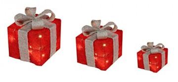 Bambelaa! 3er Led Deko Geschenke Leucht Boxen Timer Weihnachts Dekoration Weihnachtsdeko Beleuchtet Deko Weihnachten (Rot) - 5