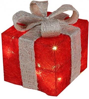 Bambelaa! 3er Led Deko Geschenke Leucht Boxen Timer Weihnachts Dekoration Weihnachtsdeko Beleuchtet Deko Weihnachten (Rot) - 6