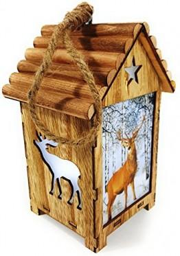 Bambelaa! LED Leuchthaus Hirsch Weihnachtsdeko Holz Weihnachtsbeleuchtung innen kabellos Weihnachten Haus - 1