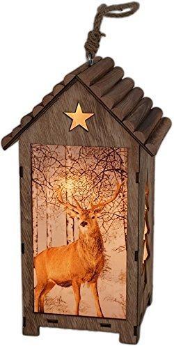 Bambelaa! LED Leuchthaus Hirsch Weihnachtsdeko Holz Weihnachtsbeleuchtung innen kabellos Weihnachten Haus - 4