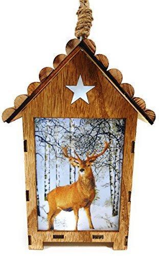 Bambelaa! LED Leuchthaus Hirsch Weihnachtsdeko Holz Weihnachtsbeleuchtung innen kabellos Weihnachten Haus - 6