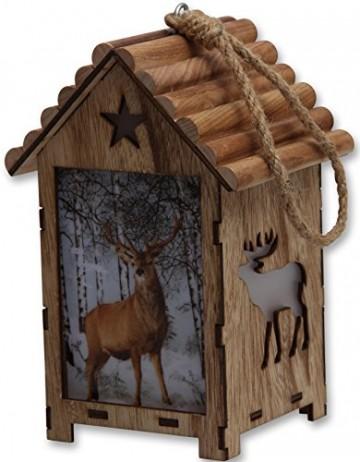 Bambelaa! LED Leuchthaus Hirsch Weihnachtsdeko Holz Weihnachtsbeleuchtung innen kabellos Weihnachten Haus - 7