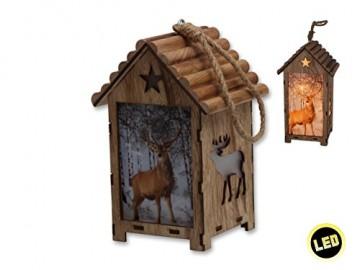 Bambelaa! LED Leuchthaus Hirsch Weihnachtsdeko Holz Weihnachtsbeleuchtung innen kabellos Weihnachten Haus - 8