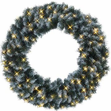 Best Season LED-Tannenkranz mit Schneedecor, beleuchtet circa Durchmesser 90 cm, 80 warmweiß Pisello LED Outdoor, Trafo Karton 612-28 - 1