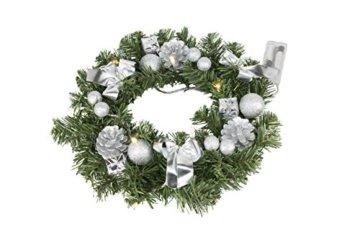 Best Season Tannenkranz, ca. 30 cm,10 warmweisse LED, Plastik, Grün, 30 x 30 x 9 cm - 1