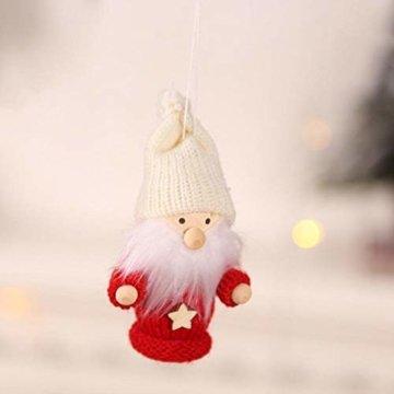 biteatey Weihnachtsschmuck Holzgarn Alter Junge Mädchen Kleine Puppe Weihnachtsbaumschmuck Anhänger - 3