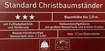 Brandsseller Christbaumständer Weihnachtsbaumständer Tannenbaumständer mit Fußhebeltechnik, EIN-Seil-Technik und Sicherung - 32x32x9 cm/4,2 kg für Bäume bis zu 2,0m - Farbe: Grün - 3