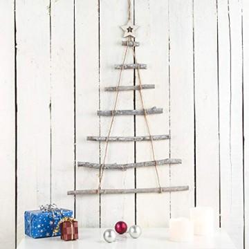 Britesta Deko Weihnachtsbaum Holz: Deko-Holzleiter in Weihnachtsbaum-Form zum Aufhängen, 48 x 78 cm (Deko Holzleiter Tannenbaum) - 2