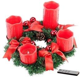 Britesta LED-Weihnachtskranz: Adventskranz mit roten LED-Kerzen, rot geschmückt (Kerzenkranz) - 1