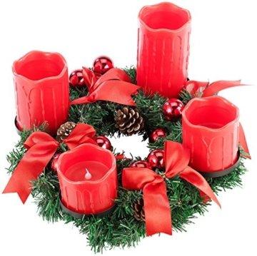 Britesta LED-Weihnachtskranz: Adventskranz mit roten LED-Kerzen, rot geschmückt (Kerzenkranz) - 5