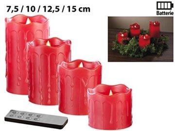 Britesta LED-Weihnachtskranz: Adventskranz mit roten LED-Kerzen, rot geschmückt (Kerzenkranz) - 6