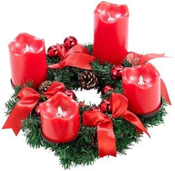 Britesta Tannenkranz: Adventskranz, rot, 4 rote LED-Kerzen mit bewegter Flamme (Weihnachtskranz) - 2
