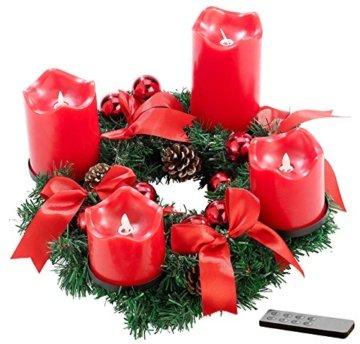 Britesta Tannenkranz: Adventskranz, rot, 4 rote LED-Kerzen mit bewegter Flamme (Weihnachtskranz) - 1
