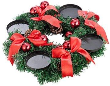 Britesta Tannenkranz: Adventskranz, rot, 4 rote LED-Kerzen mit bewegter Flamme (Weihnachtskranz) - 5