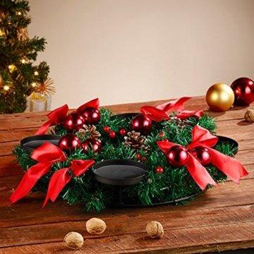Britesta Tannenkranz: Adventskranz, rot, 4 rote LED-Kerzen mit bewegter Flamme (Weihnachtskranz) - 6