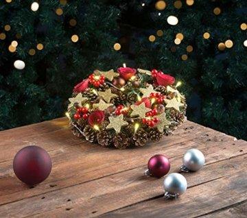 Britesta Türkranz: Weihnachtskranz, 20 warmweiße LEDs, Timer, batteriebetrieben, 28 cm (Türkranz Weihnachten LED Timer) - 3