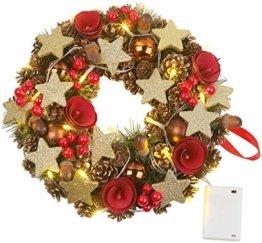 Britesta Türkranz: Weihnachtskranz, 20 warmweiße LEDs, Timer, batteriebetrieben, 28 cm (Türkranz Weihnachten LED Timer) - 1