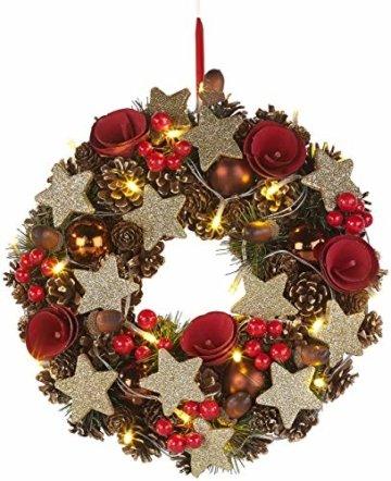 Britesta Türkranz: Weihnachtskranz, 20 warmweiße LEDs, Timer, batteriebetrieben, 28 cm (Türkranz Weihnachten LED Timer) - 4