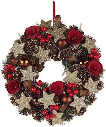Britesta Türkranz: Weihnachtskranz, 20 warmweiße LEDs, Timer, batteriebetrieben, 28 cm (Türkranz Weihnachten LED Timer) - 5